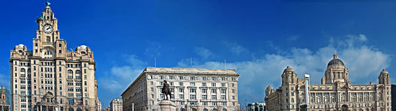 Les 3 grâces du bord de mer de renommée mondiale de Liverpool Photo libre de droits