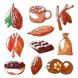 Les graines de cacao tirées par la main ont isolé l'ensemble de vecteur illustration de vecteur