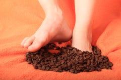 les graines de café proches de fond ont isolé la photo vers le haut du blanc Photographie stock libre de droits