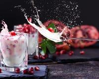 Les graines de grenade sur le yaourt, injecte le lait photos stock