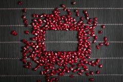 Les graines de grenat font un cadre Photographie stock libre de droits