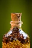 Les graines mis en bouteille ornementent le plan rapproché Photographie stock