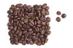 Les grains de café rôtis sont un rectangle Images stock