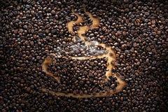 Les grains de café, texture, ont rôti les grains de café, tasse de café Photo libre de droits