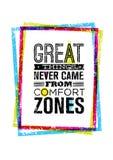 Les grandes choses ne sont jamais venues du cadre grunge lumineux d'intérieur de citation de motivation de zones de confort Conce illustration libre de droits
