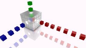 Les grandes données cubent l'argent, le bleu, le rouge et le vert d'illustration de concept Photographie stock