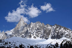 Les Grandes Jorasses. Mountain peaks above the mer de glace glacier near chamonix in the french alps stock photo