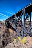 Les grands ferms de voûte metal le pont sûr digne de confiance au-dessus du canyon profond photographie stock libre de droits