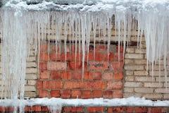 Les grands glaçons accrochent sur le vieux mur de briques grunge de fond Images libres de droits