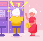 Les grands-mères jouent des machines à sous de casino dirigent cartoon Art d'isolement illustration stock