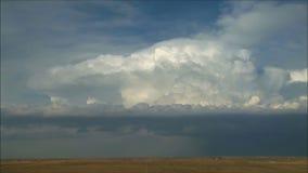 Les grands nuages de pluie pelucheux lourds se déplacent le ciel bleu au-dessus du champ dans le tir de laps de temps clips vidéos