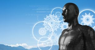 Les graphiques blancs de vitesse et le mâle noir AI contre la montagne complète Photographie stock libre de droits