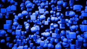 Les graphiques 3d de mouvement ont fait une boucle l'animation en tant que fond bleu géométrique dans 4k avec les objets et la pr illustration stock
