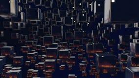 Les graphiques 3d de mouvement ont fait une boucle l'animation en tant que fond foncé dans 4k avec les cubes simples et la profon illustration stock