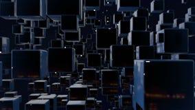 Les graphiques 3d de mouvement ont fait une boucle l'animation en tant que fond foncé dans 4k avec les cubes simples et la profon illustration de vecteur