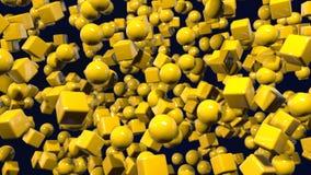 Les graphiques 3d de mouvement ont fait une boucle l'animation en tant que fond jaune géométrique dans 4k avec les objets et la p illustration de vecteur