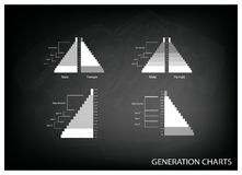 Les graphiques de pyramides de population avec la génération 4 Photo stock