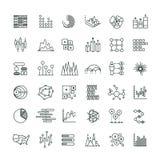Les graphiques et les diagrammes de gestion de statistiques décrivent des icônes de vecteur Ligne financière pictogrammes de diag illustration de vecteur
