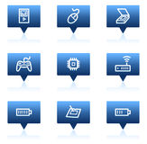 Les graphismes de Web de l'électronique ont placé 2, bulles bleues de la parole Image stock