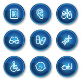 Les graphismes de Web de médecine ont placé 2, boutons bleus de cercle Image stock