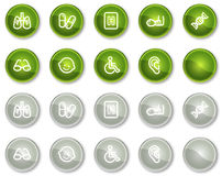 Les graphismes de Web de médecine ont placé 2, boutons verts de cercle Images stock