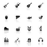 Les graphismes ont placé les instruments musicaux Photo libre de droits