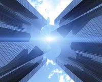 Les gratte-ciel avec un dollar forment contre les nuages, vue de dessous, bannière illustration 3D illustration stock