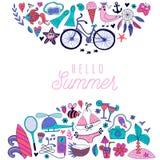 Les griffonnages d'été conçoivent, illustration de vacances de voyage, océan et concept de plage illustration de vecteur