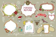 Les griffonnages de Noël ont placé Insignes, labels avec des vacances Photo stock