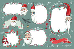 Les griffonnages de Noël ont placé Insignes, labels avec Santa Images libres de droits