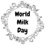 Les griffonnages de noir de jour de lait du monde entourent l'ornement 1er juin illustration libre de droits