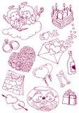Les griffonnages de Valentine illustration de vecteur