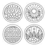 Les griffonnages ont rempli cercles réglés illustration de vecteur