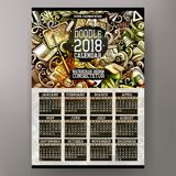 Les griffonnages tirés par la main colorés de bande dessinée instruisent le calendrier de 2018 ans Photos stock