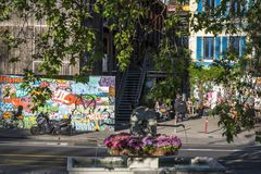 Les Grottes neighbourhood, a bohemian district in Geneva, Switzerland. Vibrant Les Grottes neighbourhood, a bohemian district in Geneva, Switzerland stock photography