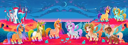 Les groupes des licornes et du Pegasus dans une imagination aménagent en parc illustration libre de droits