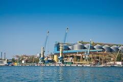 Les grues dans la cargaison mettent en communication dans la baie de Sébastopol Image libre de droits
