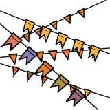 Les guirlandes plates de drapeaux de vacances de style de couleurs d'arc-en-ciel ont placé sur le fond blanc illustration libre de droits