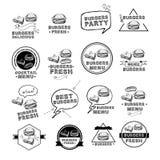Les hamburgers ont placé des icônes menu, illustration de vecteur Photographie stock