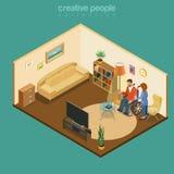 Les handicapés handicapés estropient le vecteur isométrique plat à la maison invalide illustration stock