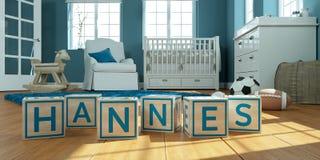 Les hannes de nom écrits avec les cubes en bois en jouet chez la pièce du ` s des enfants Images stock