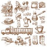 Les haricots de cueillette d'agriculteur de vecteur de plantation de production de café sur le dessin d'arbre et de vintage boive Photo libre de droits