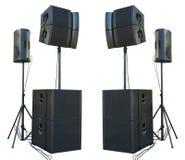 Les haut-parleurs audio industriels de vieux concert puissant d'étape ont isolé o image libre de droits