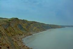 Les hautes falaises de roche de la Mer du Nord française marchent près du mer de sur de Boulogne photo libre de droits