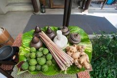 Les herbals thaïlandais assaisonnent et des ingrédients pour presque de nourriture thaïlandaise telle que TOM YUM KUNG et peuvent Image stock