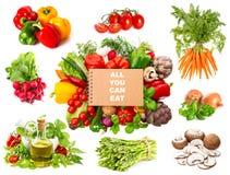 Les herbes de variété et les légumes et la recette frais réservent Image libre de droits