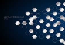 Les hexagones géométriques abstraits modèlent le métal argenté sur le style bleu-foncé de technologie de fond illustration stock