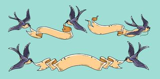 Les hirondelles volent avec des rubans Ruban de vintage pour la conception de l'invitation de mariage, carte de voeux, rétro bann Images stock