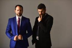 Les hommes avec la barbe et les visages réfléchis discutent des affaires Photo stock