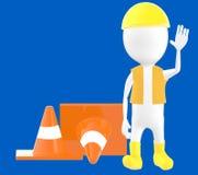 les hommes blancs de travail du caractère 3d montrant l'arrêt font des gestes, trafiquent des cônes derrière Photo stock